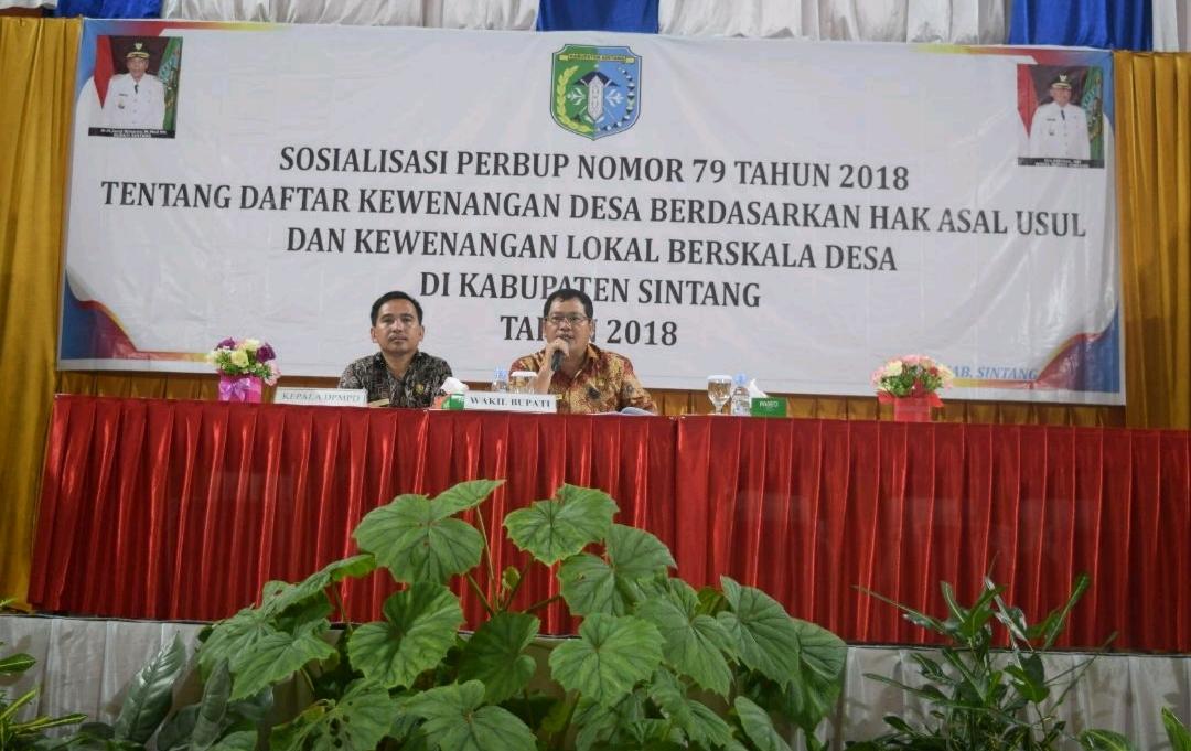Wakil Bupati Sintang menutup acara Sosialisasi  Perbup nomor 79 Tahun.2018