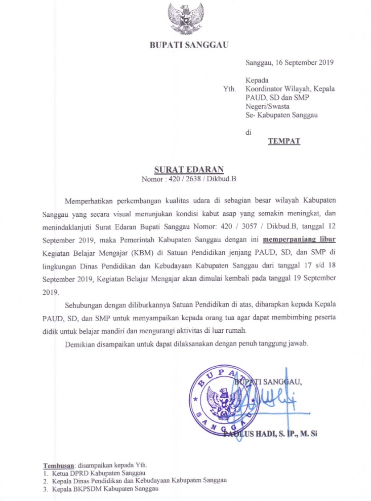 Bupati Sanggau Keluarkan Surat Edaran Untuk Perpanjang Libur.
