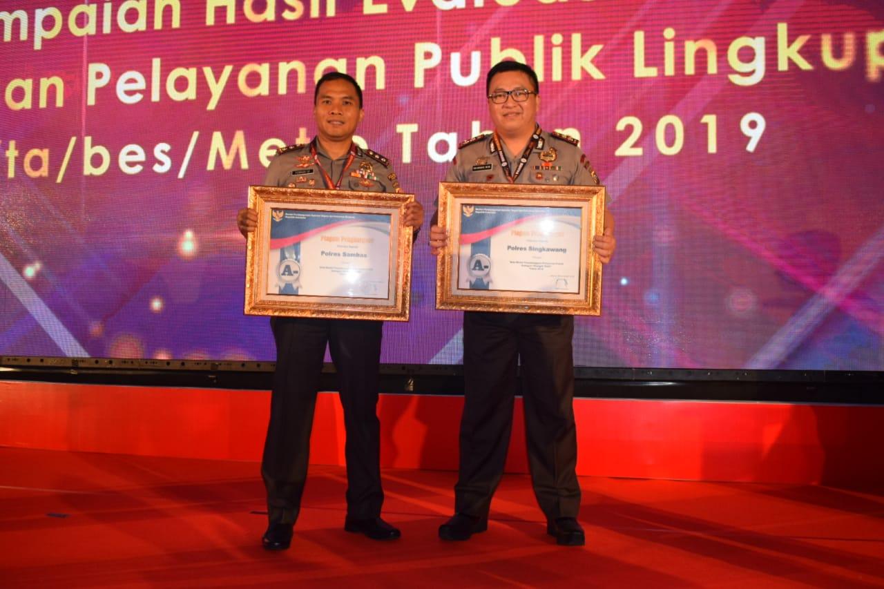 Pelayanan Publik Meningkat, Tujuh Polres di Polda Kalbar Mendapat Penghargaan Sangat Baik dan Baik dari Kemenpan RB