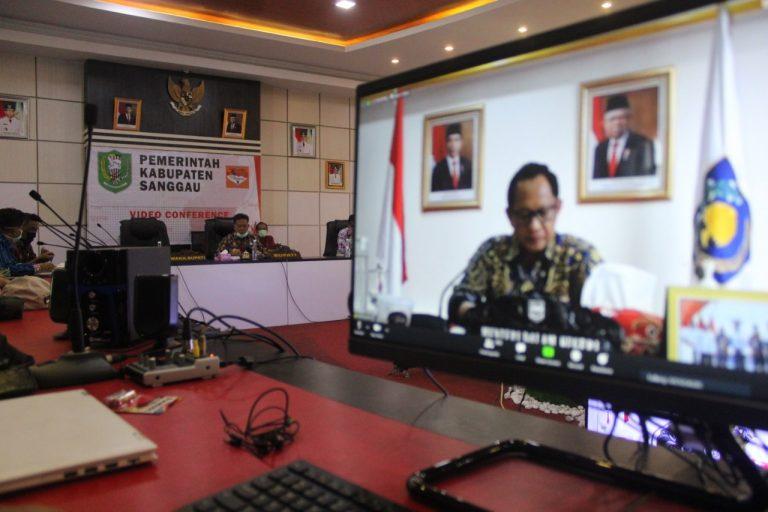 Bupati Sanggau Lakukan Vidcon diselenggarakan oleh Kementerian Dalam Negeri