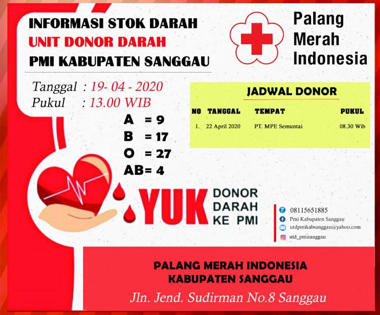 Update Stok Darah di UDD,PMI Kabupaten Sanggau,Minggu 19 April 2020