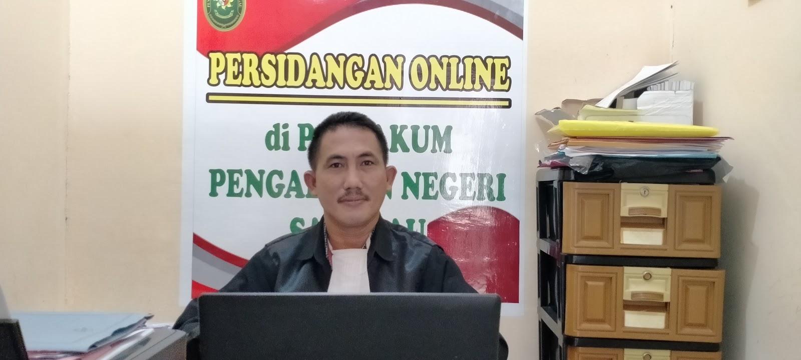 Patuhi Protokol Kesehatan Pos Bakum Pengadilan Negeri Sanggau Ikuti Sidang online