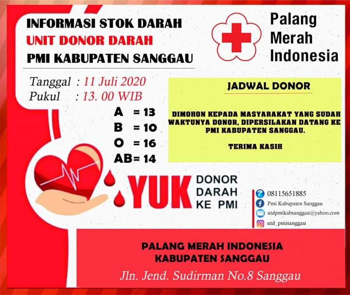 Foto : Update Stok Darah UDD PMI Sanggau (11/7/2020)