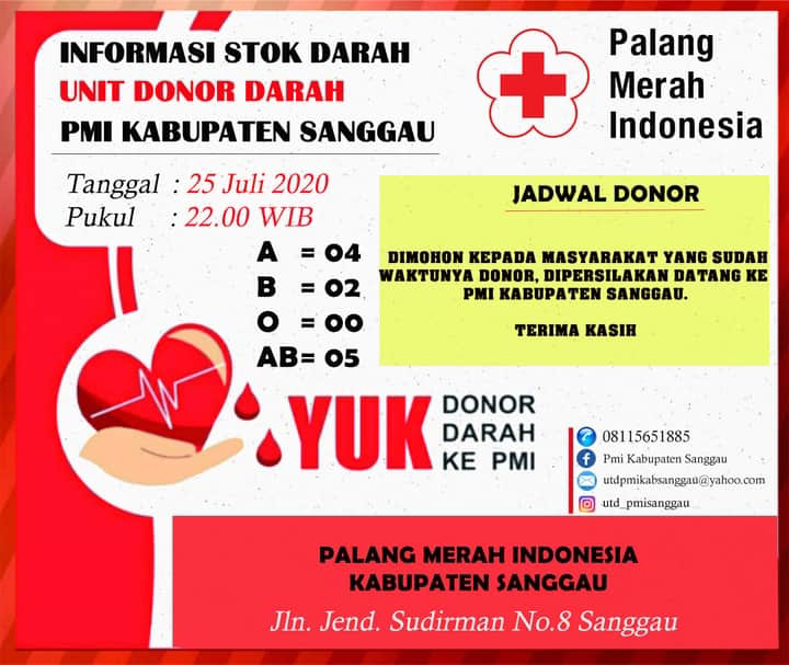 Foto : Update Stok Darah di UDD PMI Sanggau (25/7/2020)