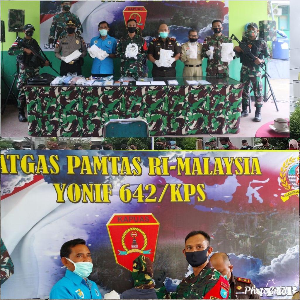 Satgas Pamtas Yonif 642/Kps,Berhasil Menggagalkan Penyelundupan Narkotika Kemudian di Serahkan Ke BNNK Sanggau.