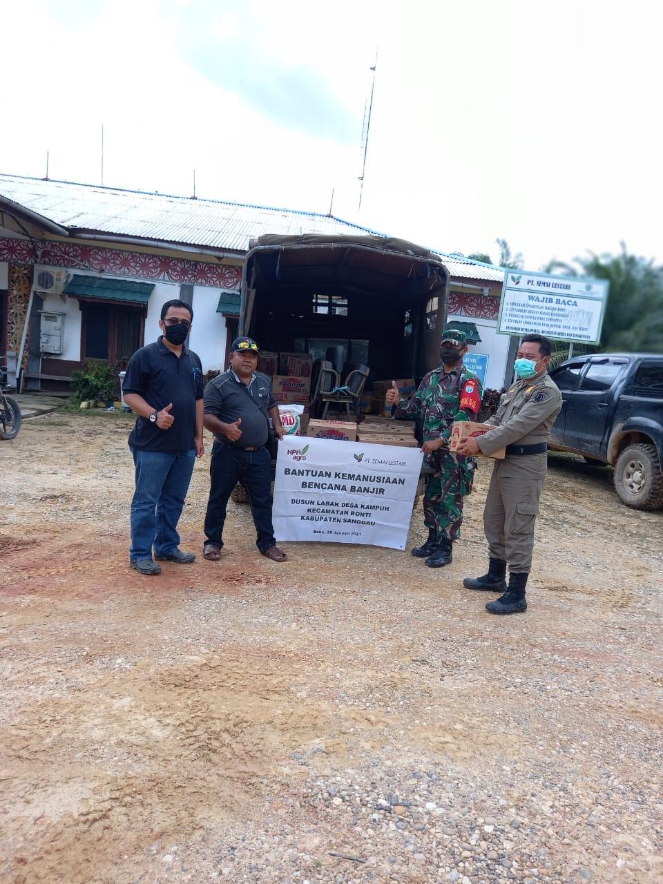 HPI Agro PT.Semai Lestari Serahkan Bantuan Sembako Di Dusun Labak Desa Kampuh Kecamatan Bonti