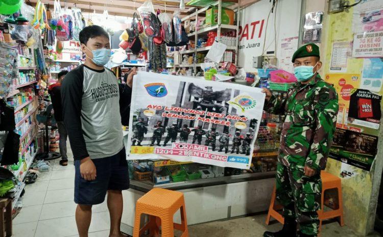 Koramil 1204-21/Entikong Himbauan Protokol Kesehatan Di Pasar kecamatan Entikong