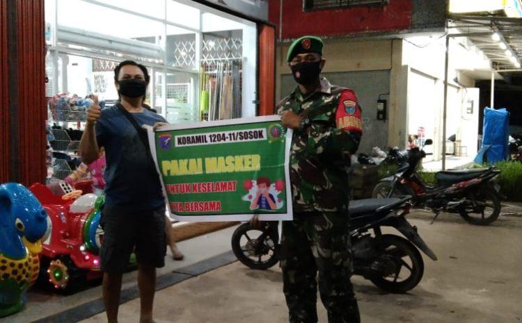 Koramil 11/sosok Anggota Melaksanakan Kegiatan Sosialisasi Himbauan 3 M.